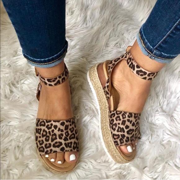Shoes - ALMOST GONE Esme Leopard Print Platform Espadrille